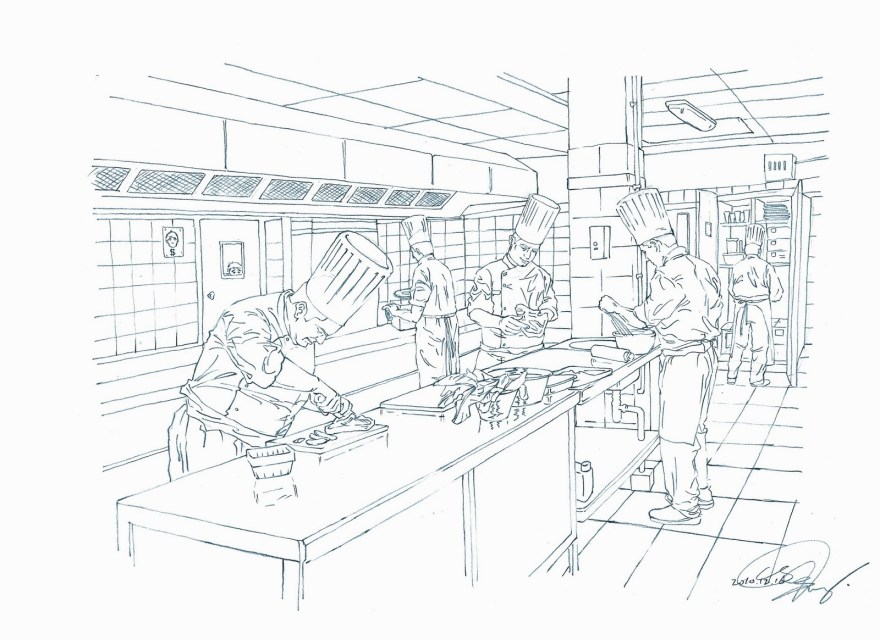 Restaurant Kitchen Illustration illustration – restaurant's kitchen – 324 plus | siqing chen